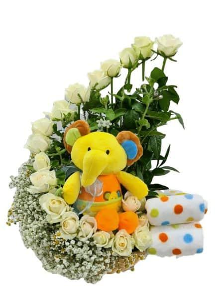 סט ליולדת - ורדים פילון ושמיכה לתינוק